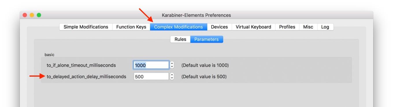 Karabiner-Elementsの遅延時間