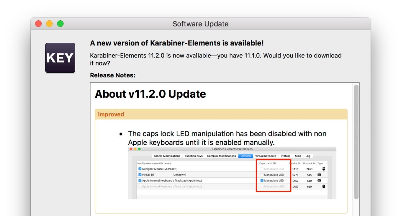 Karabiner-Element v11.2アップデート