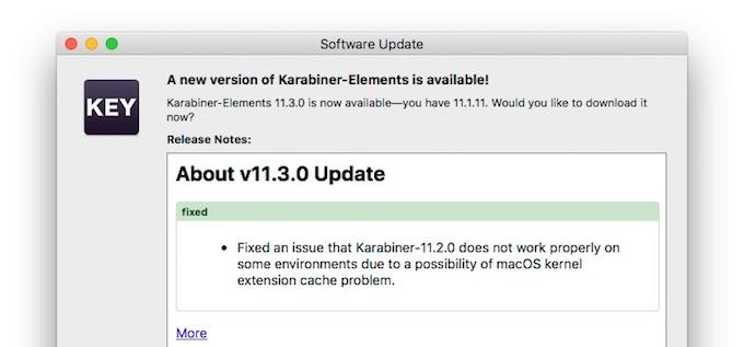 Karabiner-Elements v11.3.0アップデート