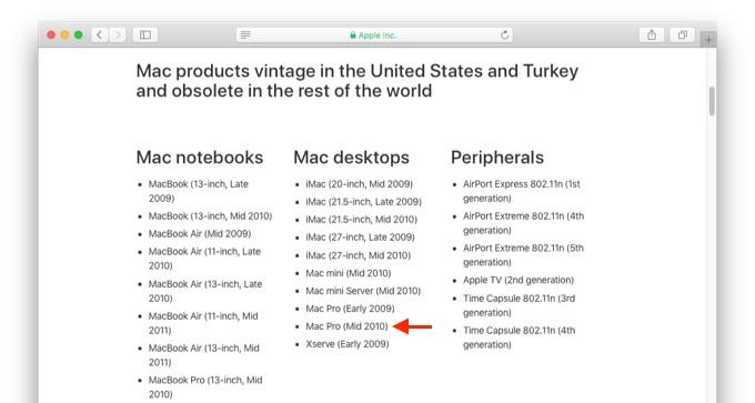 Mac Pro (Mid 2010) オブソリート
