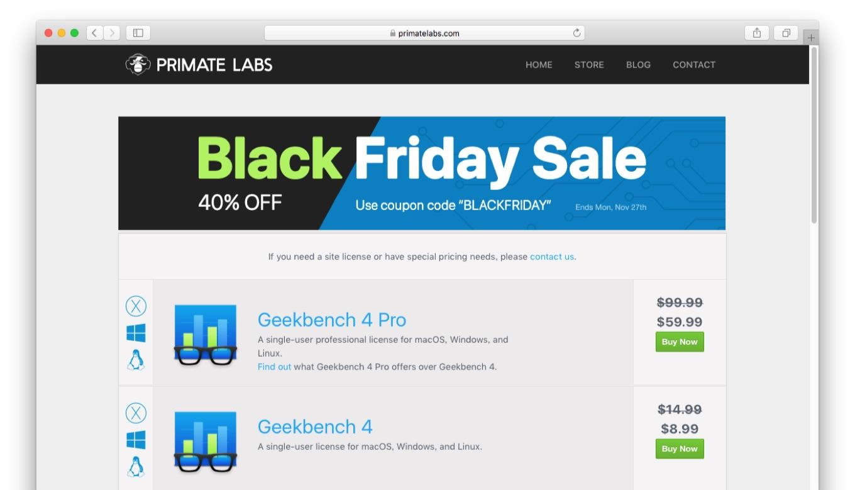 Geekbench 4のブラックフライデーセール