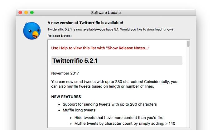 280文字のツイートをサポートしたTwitterrific