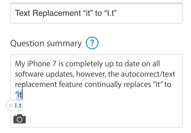 iOS 11の自動修正機能がitをI.Tにする