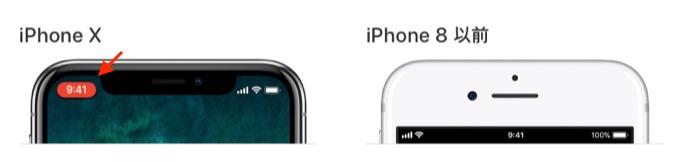 iPhone X では、時刻の背後の吹き出しがその色で表示されます。
