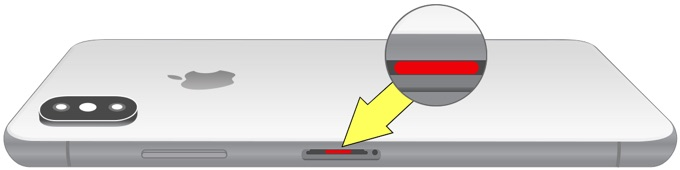 iPhone Xの液体侵入インジケーター