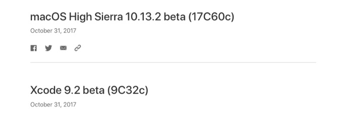 macOS High Sierra 10.13.2 beta (17C60c)がリリース