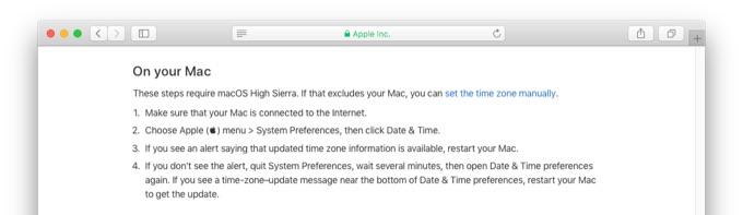 macOS 10.13 High Sierraの時間帯情報のアップデート