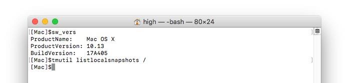 macOS 10.13.1 High Sierraアップデート前のスナップショット