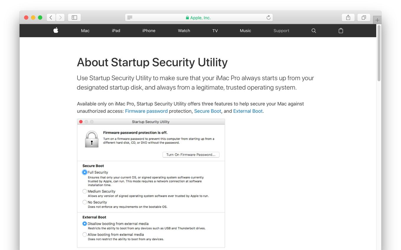 iMac ProのStartup Security Utilityについて