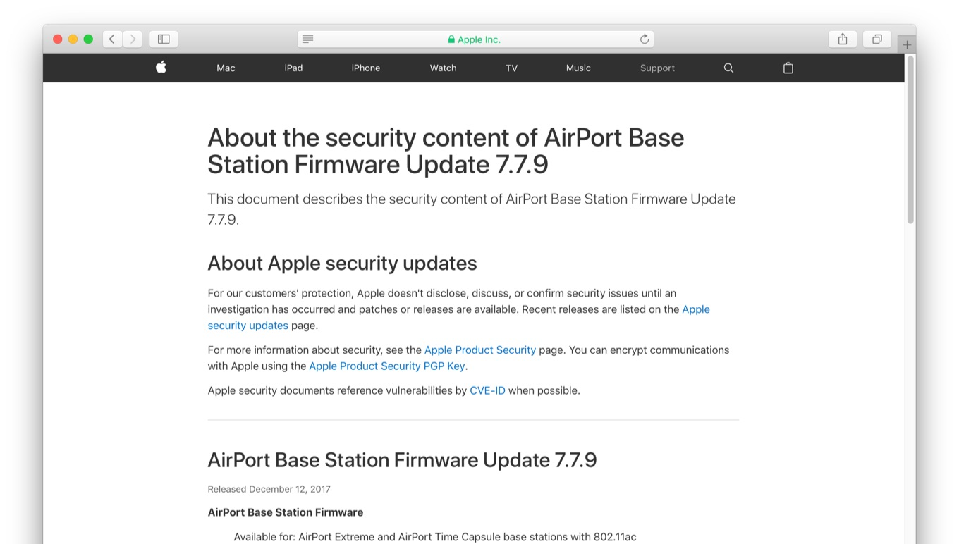 AirPort Base Station Firmware Update 7.7.9