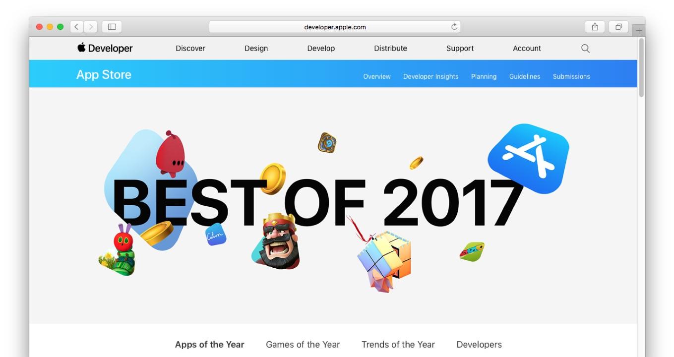 AppleのBest of 2017アプリの公式サイト