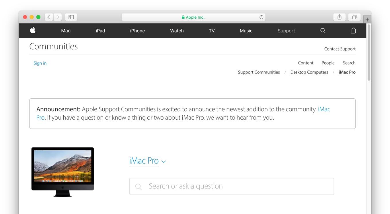 iMac Proのサポートコミュニティ