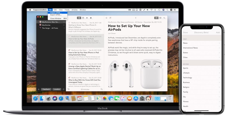 Mac/iOSに対応したRSSリーダー「Cappuccino」