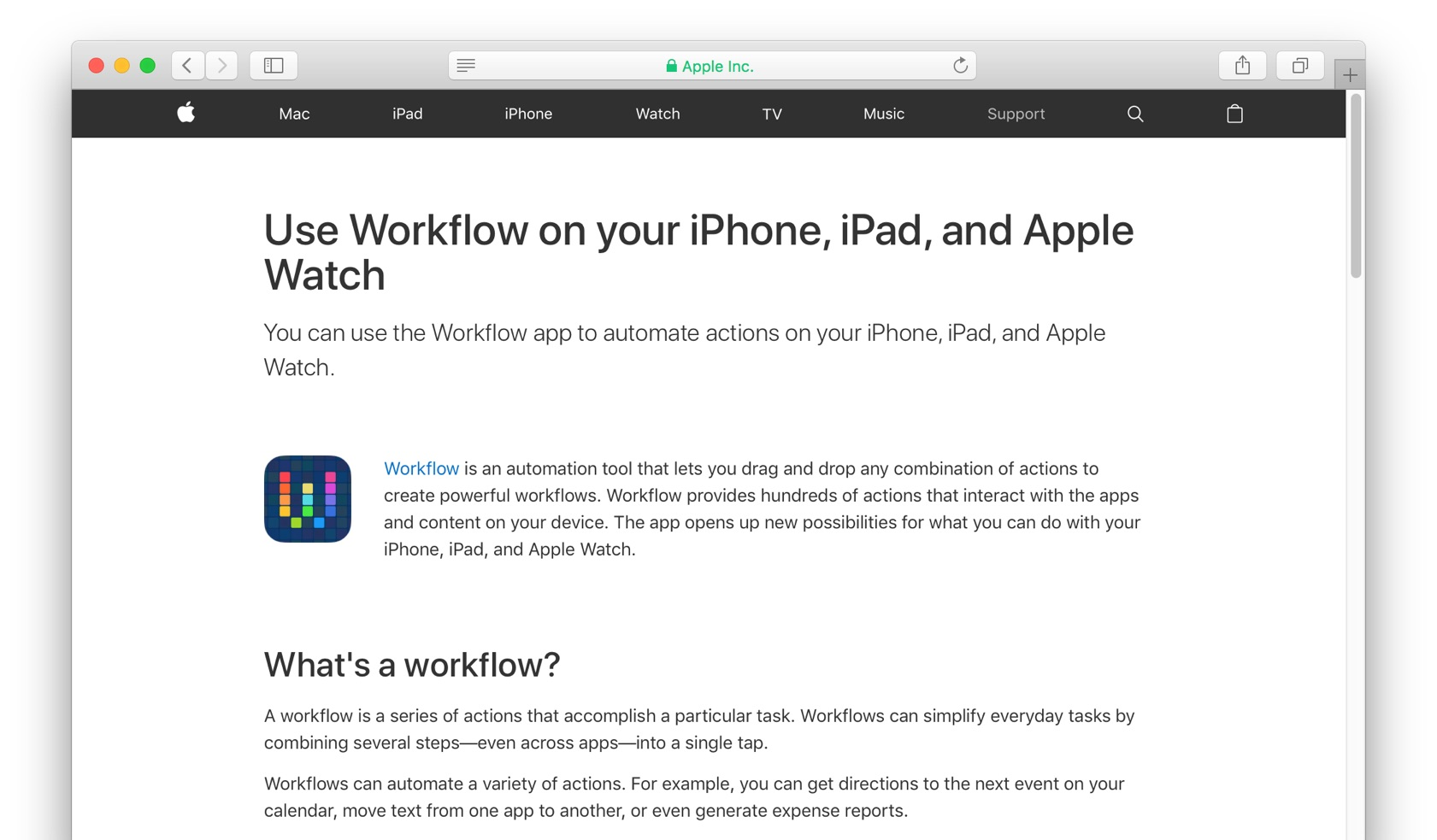 Use Workflow on your iPhone, iPad, and Apple Watch