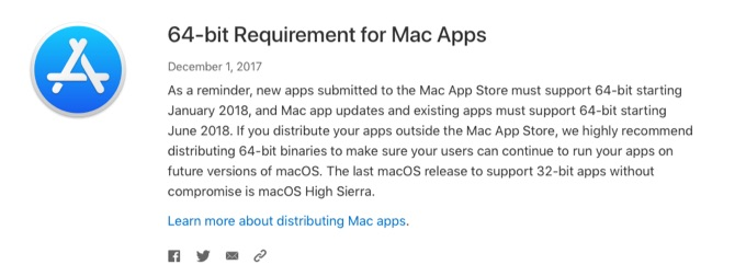64-bit Requirement for Mac Apps