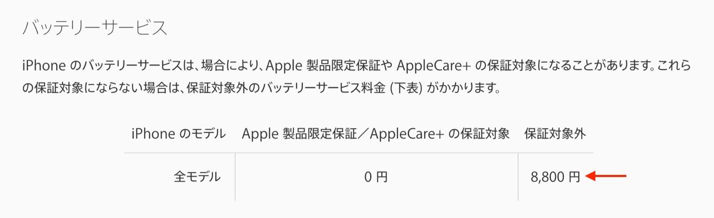 iPhoneのバッテリーサービス