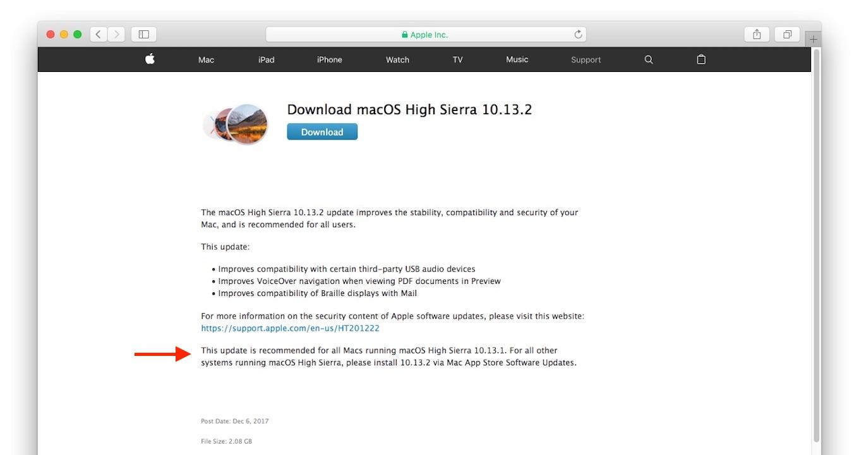Download macOS High Sierra 10.13.2