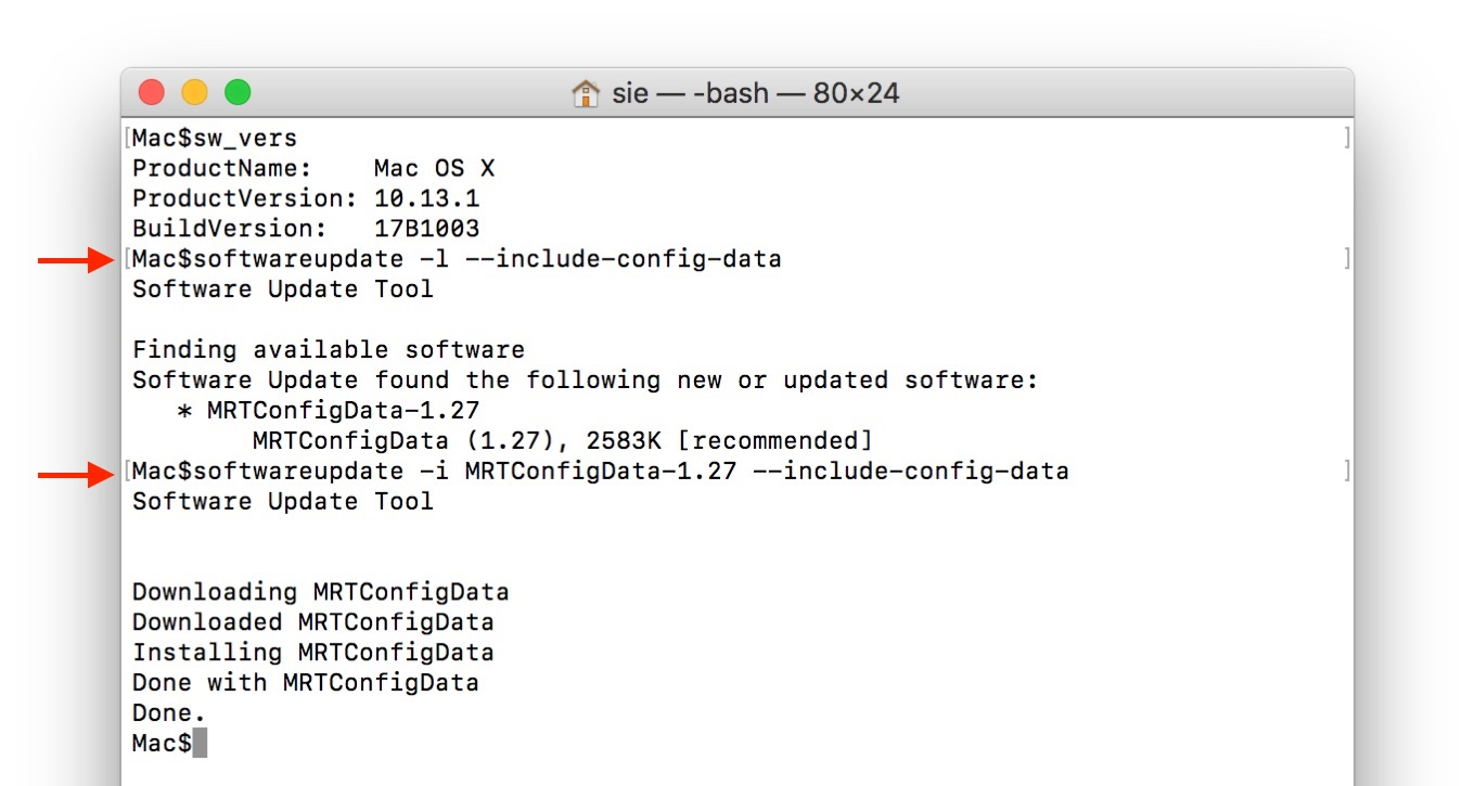 softwareupdate -i MRTConfigData-1.27 --include-config-data