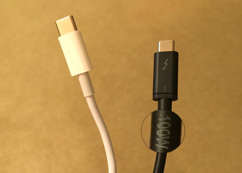 Anker USB-C & USB-C Thunderbolt 3 ケーブルについている100Wラベル