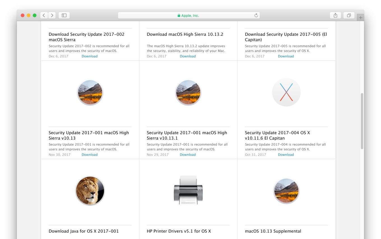 AppleのCDNから削除されたmacOS 10.13.1