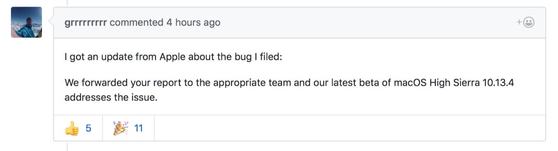 macOS High Sierra 10.13.4でtask_for_pidに関連したカーネル不具合が修正される
