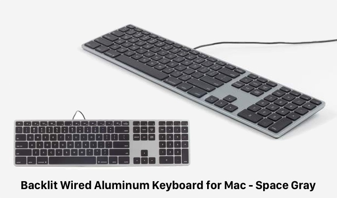 Backlit Wired Aluminum Keyboard for Mac - Space Gray