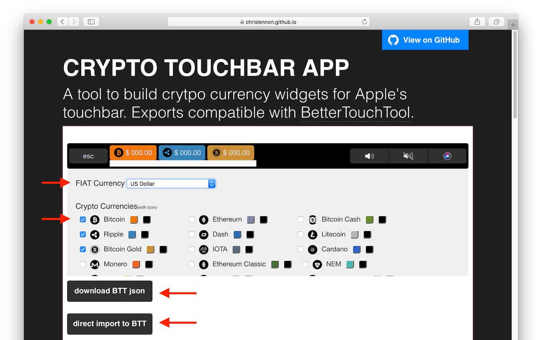 Crypto TouchBar Appのサイト