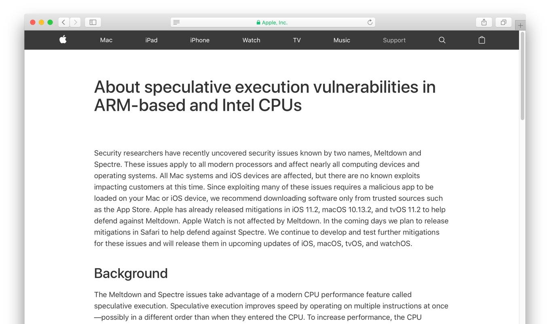 MeltdownとSpectreについてのAppleの対策
