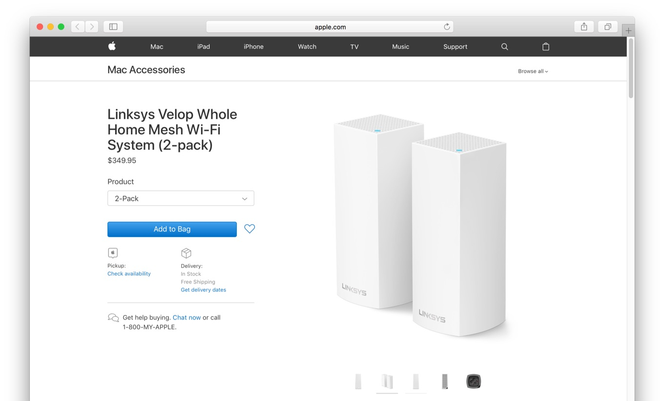 Appleストアで販売を開始したLinksys Velop Whole Home Mesh Wi-Fi System