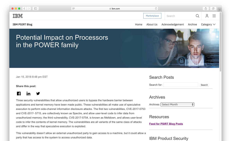 IBMのPowerプロセスファミリーについてのMeltdown/Spectre脆弱性についてのアナウンス
