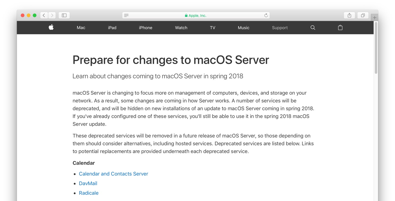 Prepare for changes to macOS Server