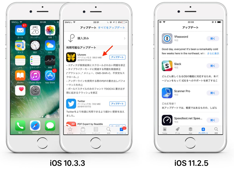 iOS 10.3.3とiOS 11.2.5のApp Storeアップデート機能