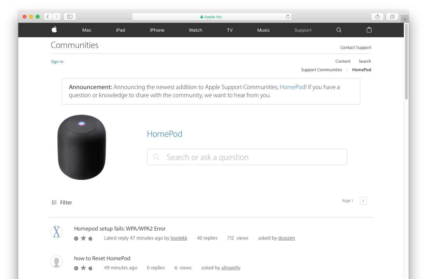 Apple HomePodのサポートコミュニティ