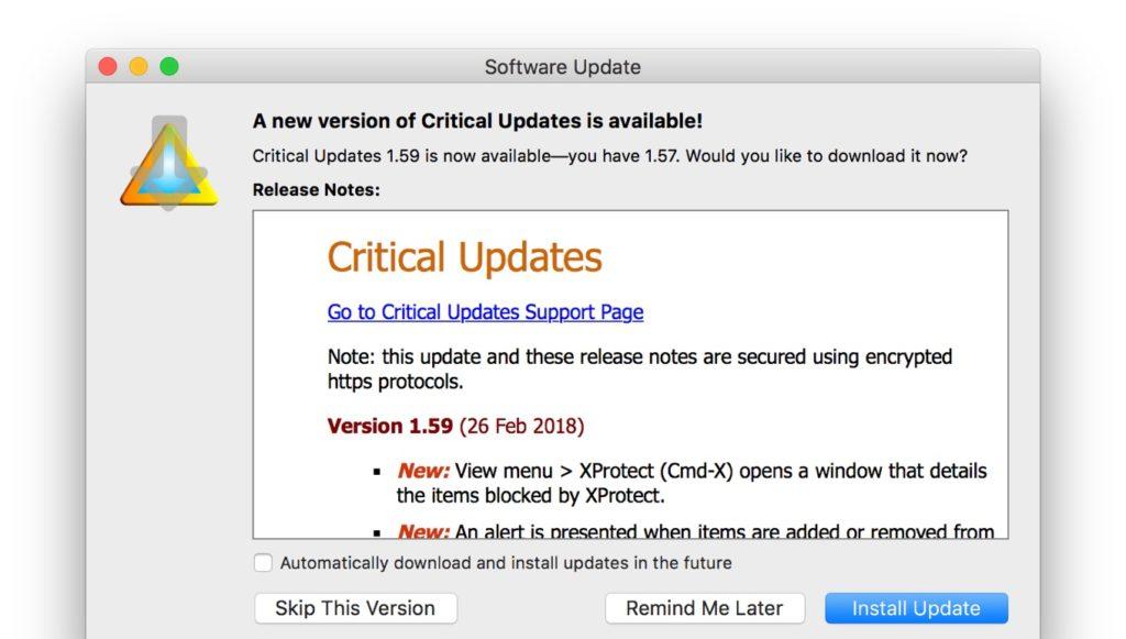 Critical Updates v1.59のリリースノート