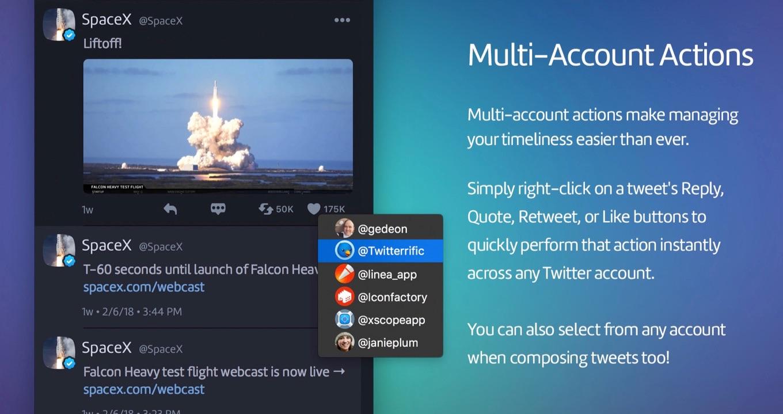 マルチアカウント・アクションに対応したTwitterrific for macOS
