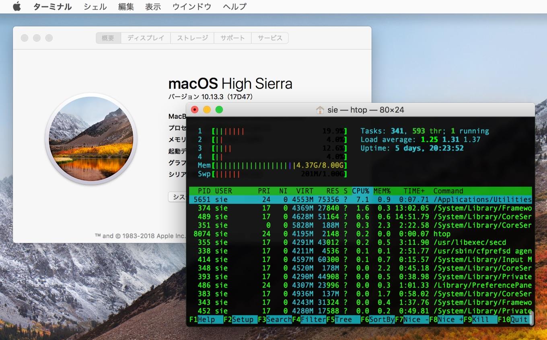 macOS 10.13 High Sierraでも利用できるようになったhtopコマンド