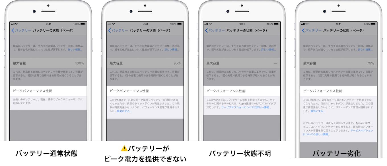 iOS 11.3のバッテリーの状態機能