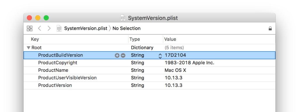 macOS 10.13.3 High Sierra Build 17D2104