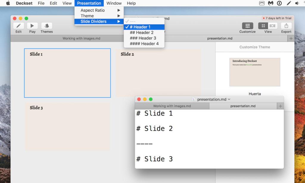markdown記法でプレゼンテーション用スライドが作成できるmac用アプリ