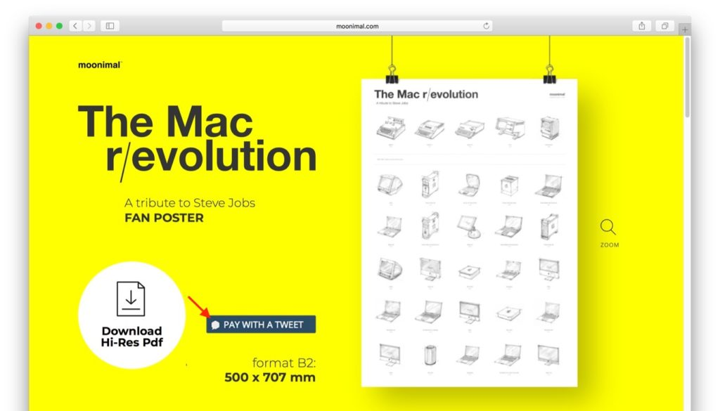 Mac r/evolution posterのPay with a Tweetキャンペーン