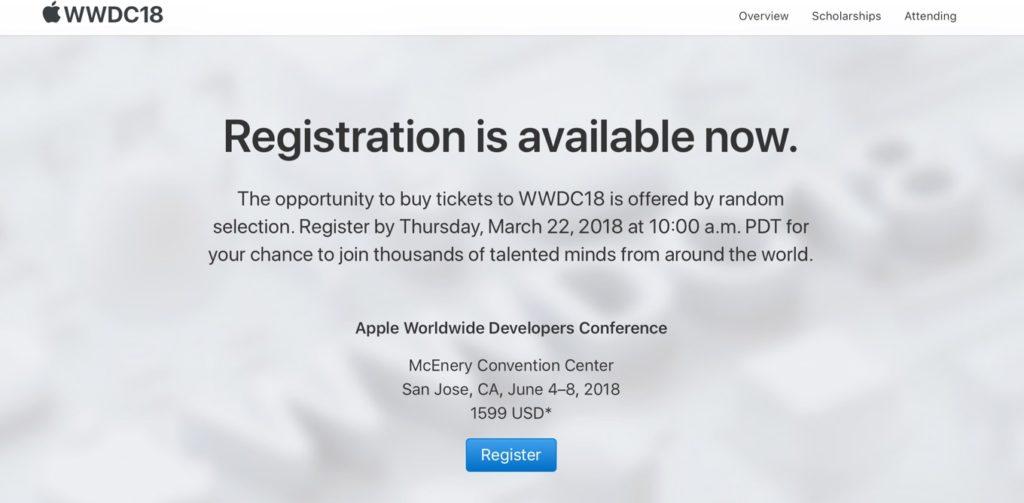 WWDC 2018の登録
