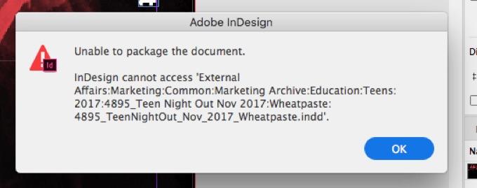 Adobe InDesignのパッケージ問題