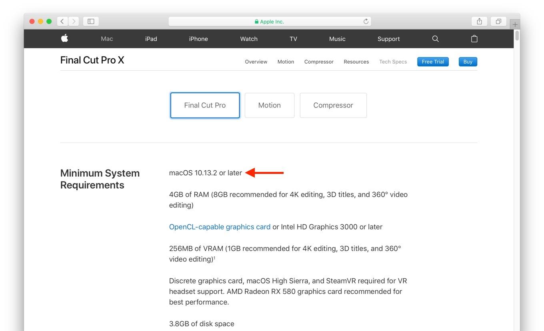 Final Cut Pro X 10.14.1の最低システム条件
