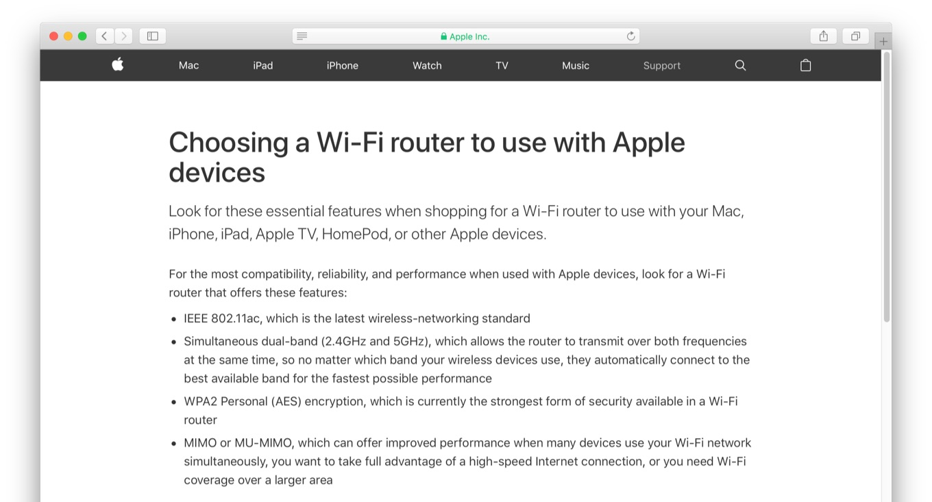Choosing a Wi-Fi router to use with Apple devices