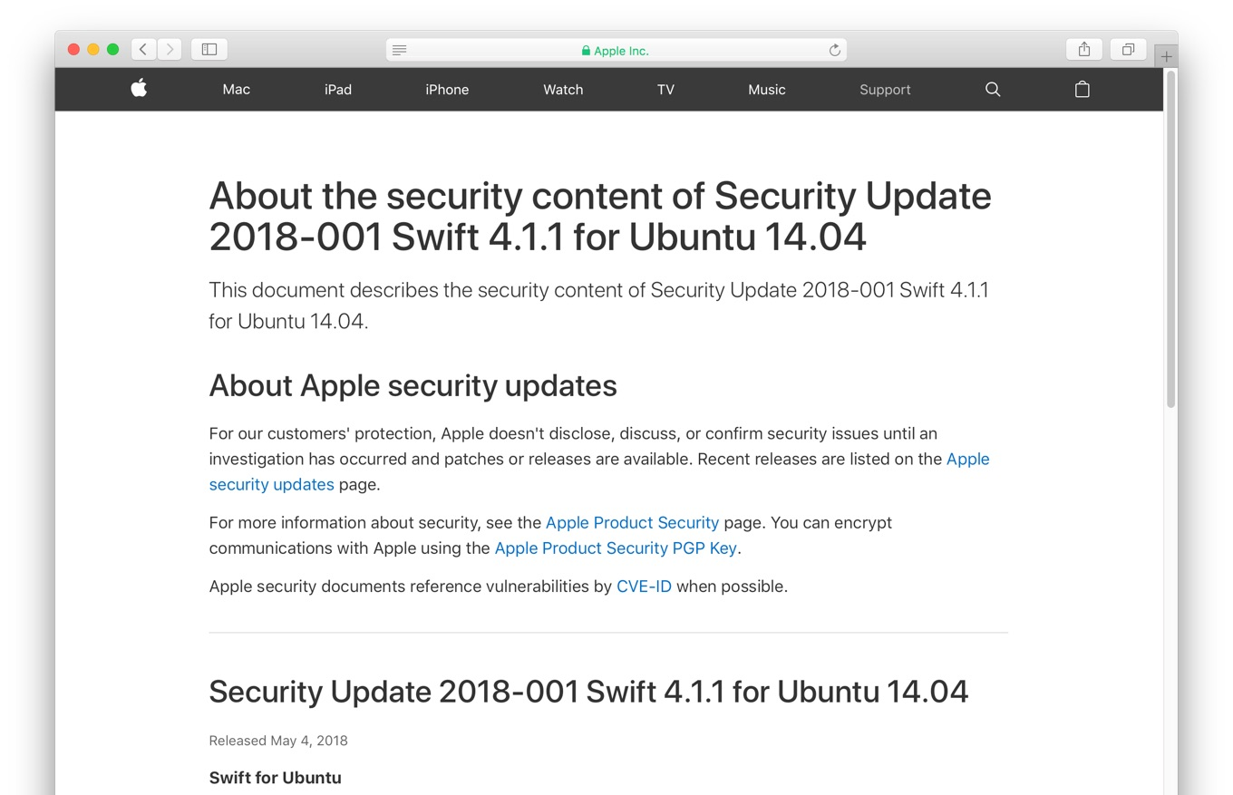 Security Update 2018-001 Swift 4.1.1 for Ubuntu 14.04
