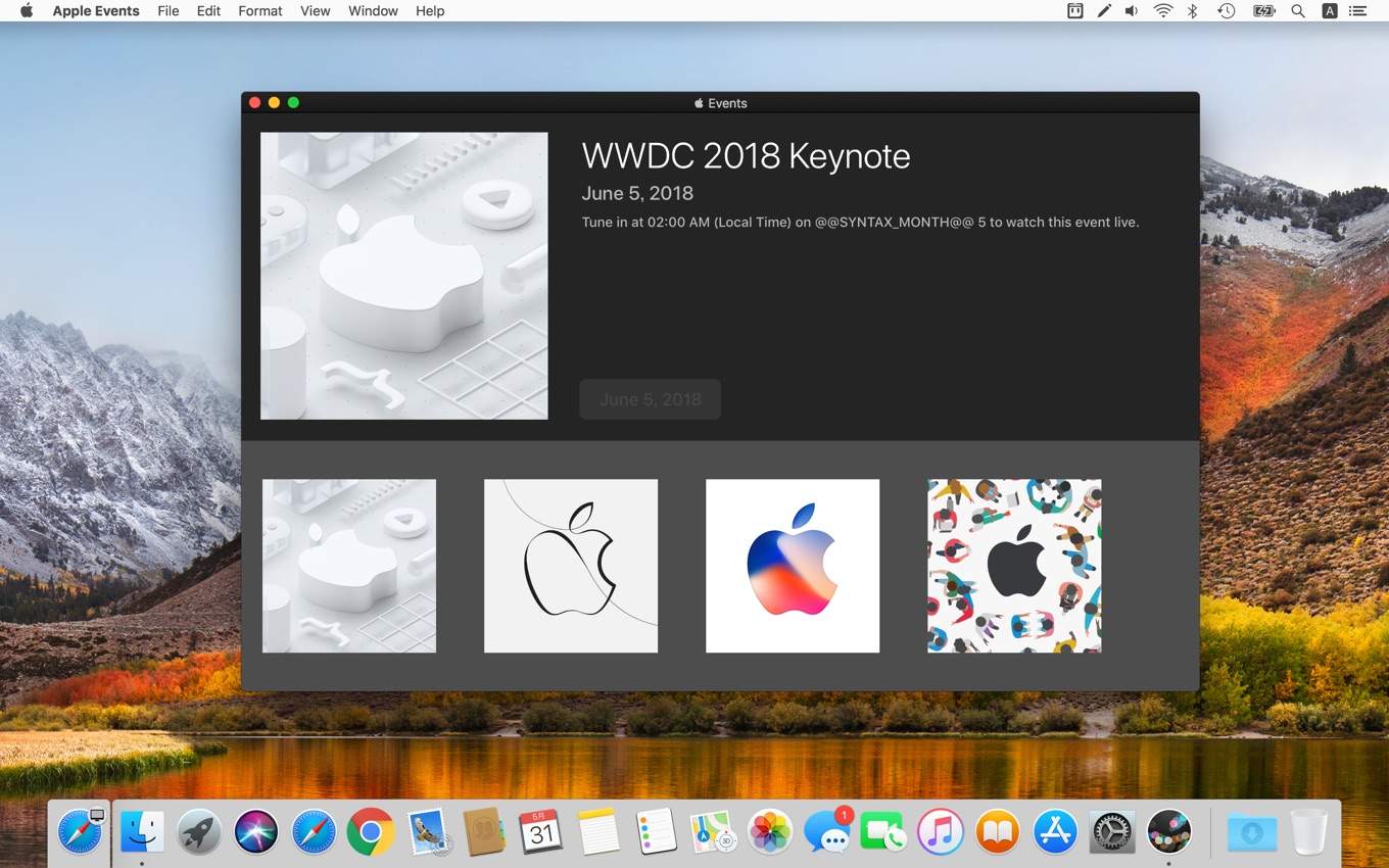 Apple Events for macOSがWWDC 2018に対応