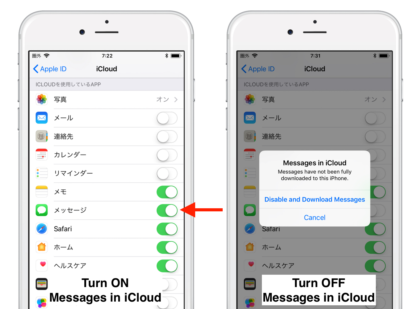 Messages in iCloudの有効/無効
