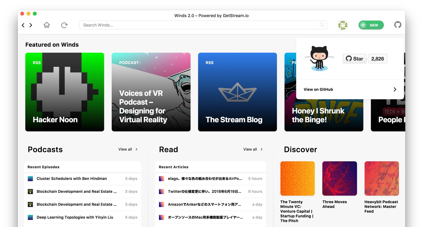Open-source RSS and Podcast Reader Winds