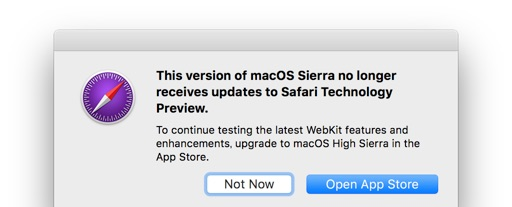 macOS Sierra no longer support