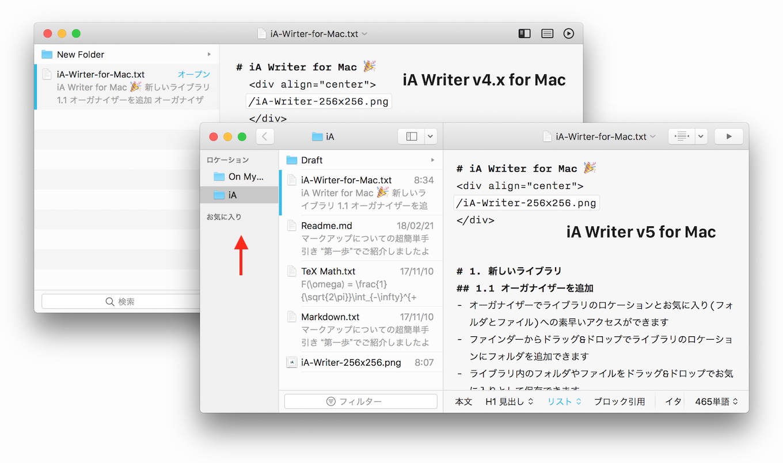 iA Writer v5 for Macのライブラリ・オーガナイザー